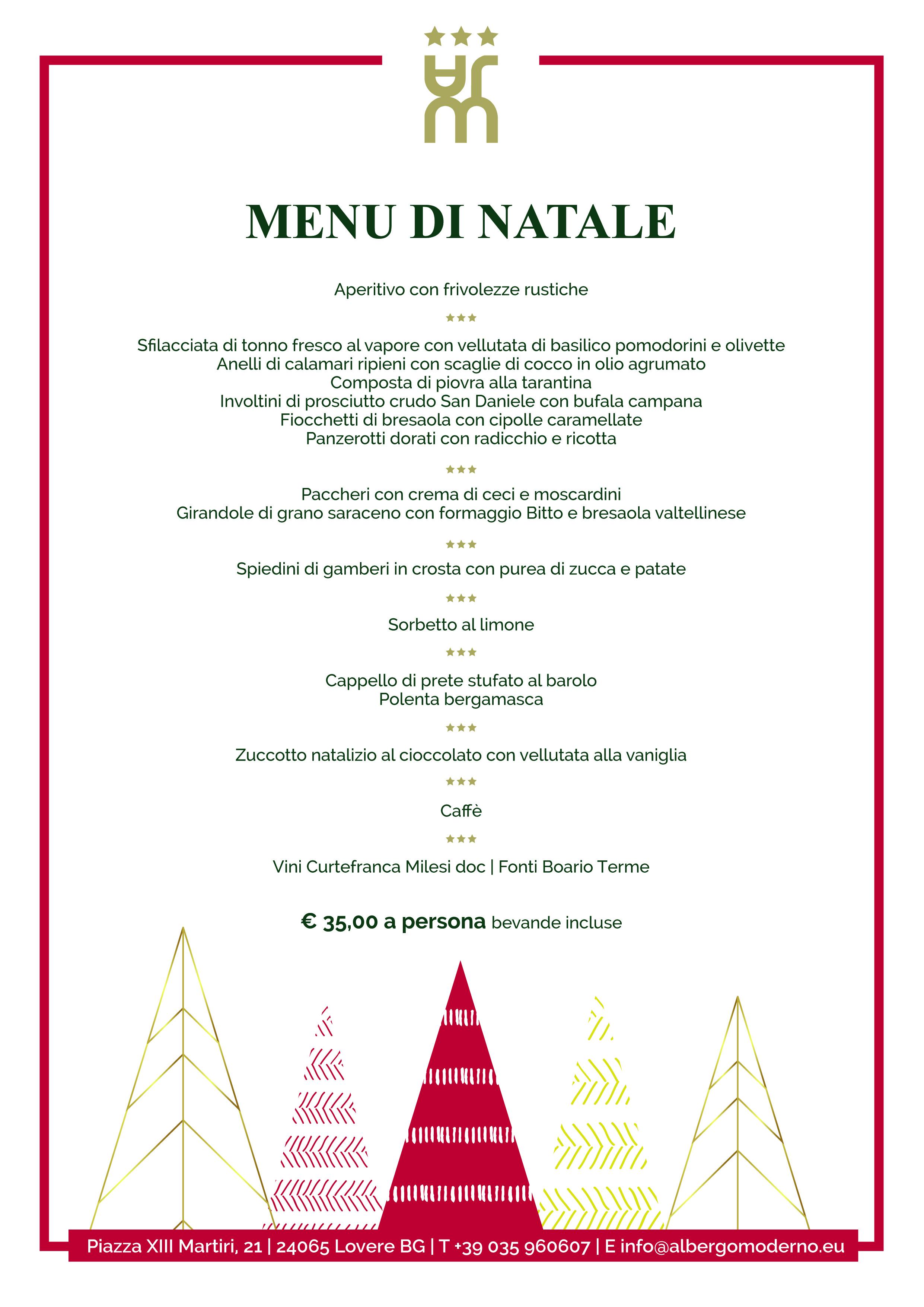 Menu Di Natale Immagini.Menu Pranzo Di Natale 2017 Albergo Ristorante Moderno